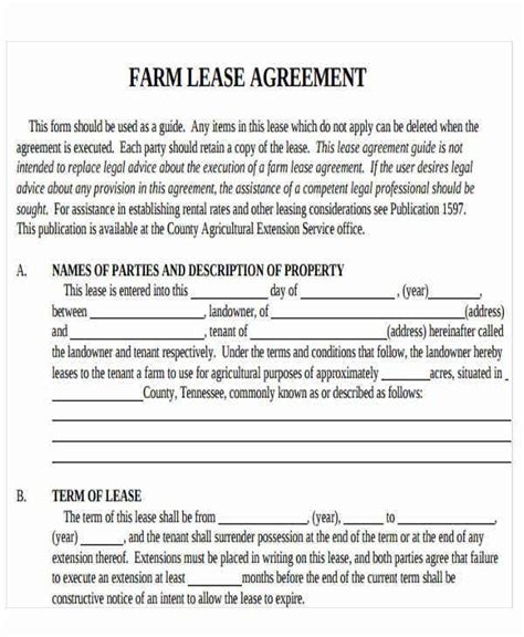 Farm Rental Agreement Template