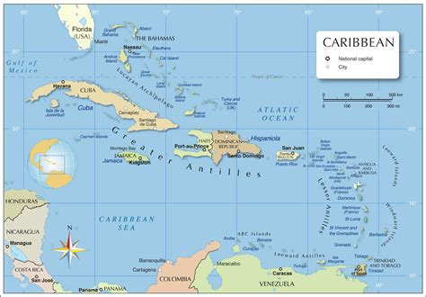 Map Caribbean Countries