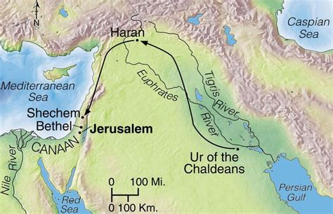Map Of Abraham s Journey From Ur To Canaan