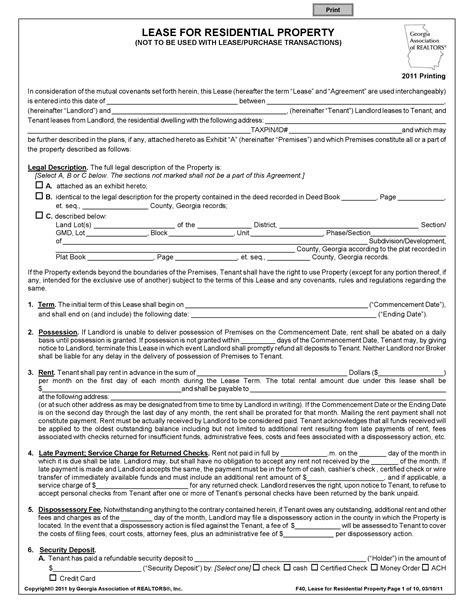 Printable Rental Agreement Template